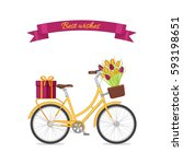 yellow retro bicycle with tulip ... | Shutterstock .eps vector #593198651