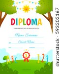 kids diploma design template.... | Shutterstock .eps vector #593202167