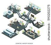 isometric airport halls... | Shutterstock .eps vector #593202275