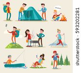backpacking and camping tourism ... | Shutterstock .eps vector #593202281