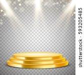 gold round podium with blur...