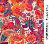 paisley seamless pattern.... | Shutterstock .eps vector #593211911