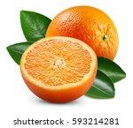 ripe orange isolated on white... | Shutterstock . vector #593214281