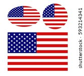 vector illustration of usa flags | Shutterstock .eps vector #593214341