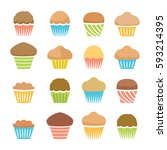 vector flat icons of chocolate... | Shutterstock .eps vector #593214395