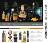 professional welder infographic ... | Shutterstock .eps vector #593216255