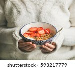 healthy breakfast greek yogurt  ...   Shutterstock . vector #593217779