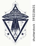 ufo aliens kidnapped person... | Shutterstock .eps vector #593218631