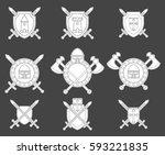 set of medieval military emblem.... | Shutterstock .eps vector #593221835