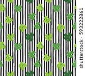 clover leaf hand drawn doodle... | Shutterstock .eps vector #593222861