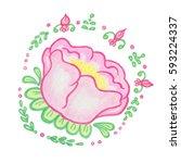 brush paint flower vector... | Shutterstock .eps vector #593224337