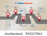 design template  road map... | Shutterstock .eps vector #593227841