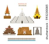 mandalay  myanmar  architecture ... | Shutterstock .eps vector #593230085