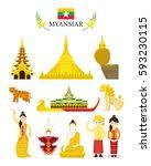 myanmar landmarks and culture... | Shutterstock .eps vector #593230115