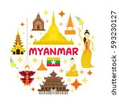 myanmar travel attraction label ... | Shutterstock .eps vector #593230127