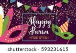 carnival masks  confetti and... | Shutterstock .eps vector #593231615