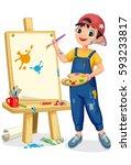 cute artist little boy painting ... | Shutterstock .eps vector #593233817
