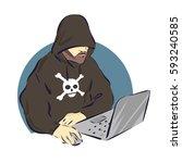 hacker on laptop icon  cartoon...   Shutterstock .eps vector #593240585