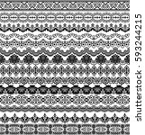 vector set of floral elements.... | Shutterstock .eps vector #593244215