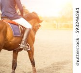young horseback rider on field... | Shutterstock . vector #593246261
