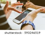group of people using mobile... | Shutterstock . vector #593246519