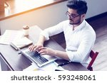 young hipster businessman... | Shutterstock . vector #593248061