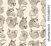 farm animals pattern  cow  goat ... | Shutterstock .eps vector #593248391