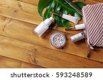 cosmetic bag with products and... | Shutterstock . vector #593248589