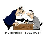 boss screams on worker  cartoon ... | Shutterstock .eps vector #593249369