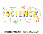 illustration of science word in ... | Shutterstock .eps vector #593252969