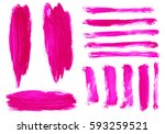 set of magenta  pink  rose... | Shutterstock . vector #593259521