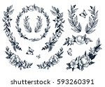 set of floral elements with... | Shutterstock .eps vector #593260391