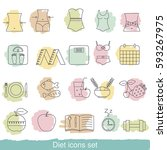 diet icons set. collection diet ... | Shutterstock .eps vector #593267975