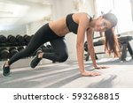 asian women exercise indoor at... | Shutterstock . vector #593268815