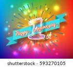 happy 1st anniversary. glass... | Shutterstock .eps vector #593270105