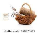 garden tools with seedlings... | Shutterstock . vector #593270699