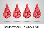 set of blood drops made of... | Shutterstock .eps vector #593271731