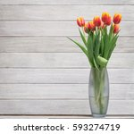 Bouquet Of Tulips In Vase On...