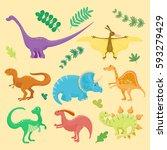 cartoon dinosaurs vector... | Shutterstock .eps vector #593279429