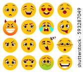set of cartoon yellow emoticons. | Shutterstock .eps vector #593287049