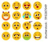 set of cartoon yellow emoticons. | Shutterstock .eps vector #593287049