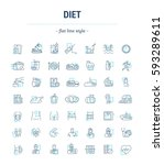vector graphic set. icons in... | Shutterstock .eps vector #593289611