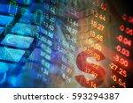 financial data on a monitor.... | Shutterstock . vector #593294387