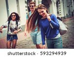 multi ethnic friends tourists... | Shutterstock . vector #593294939