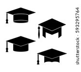 vector of graduation cap icon | Shutterstock .eps vector #593295764