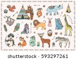 tribal animals vector... | Shutterstock .eps vector #593297261