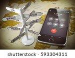 global communication  calls... | Shutterstock . vector #593304311