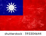 taiwan   flag on old grunge... | Shutterstock . vector #593304644