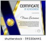 certificate blank template... | Shutterstock .eps vector #593306441