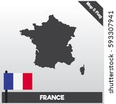 france map and flag complete...   Shutterstock .eps vector #593307941